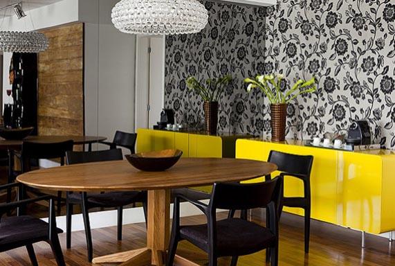 decoracao amarelo branco e preto:Papel De Parede Sala Com