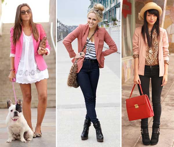 287372 pink Usando: Blazer Feminino
