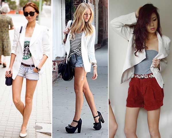 290895 blazer short Usando: Calça, Short e Blazer Brancos