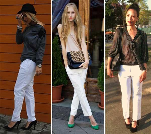 290895 cal%C3%A7a tecido Usando: Calça, Short e Blazer Brancos