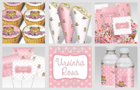 292208 kit ursina rosa Temas de decoração para festa de aniversário de 1 ano