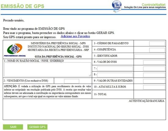 294854 GPSreceitafederal Emissão de GPS (Guia da Previdência Social)