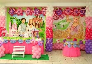 297766 festa Barbie Decoração de aniversário de meninas com temas da Barbie