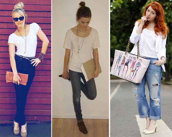 302356 branca cal%C3%A7ajeans Camisetas Brancas e Sofisticadas – Dicas e Looks