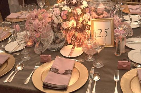 de Casamento Marrom e Rosa 3 Decoração de casamento rosa e marrom