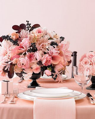 305716 boque de rosas cor de rosa com detalhes em marrom Decoração de casamento rosa e marrom