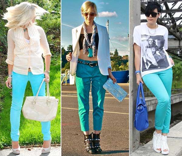 306704 calça Azul Turquesa   Tendência para o Verão 2012