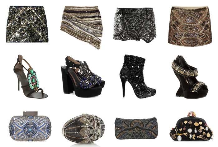 308271 saias sapatos clutches Bordados e Pedrarias   Verão 2012