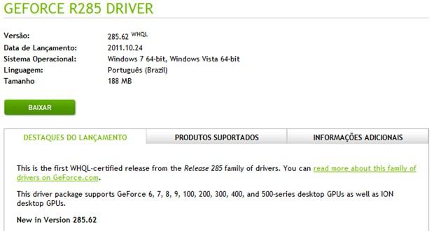 310608 DriversNVIDIA im2 Atualize o driver da sua placa de vídeo da NVIDIA