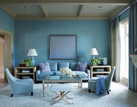 317160 Exquisito living en azul palido Sugestões para escolher a cor de parede da sua casa