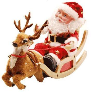 318663 Papai Noel Animado Treno com Rena Enfeites para deixar a casa em clima de natal