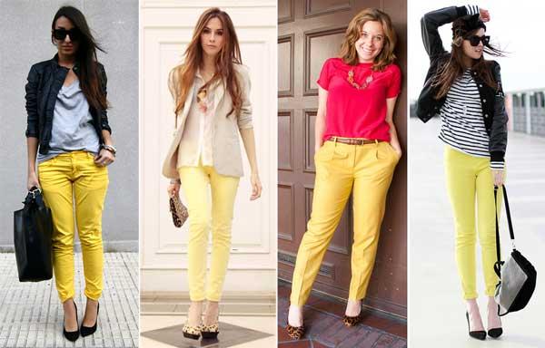 340303 amarela Calça Colorida: Tendência para o verão 2012