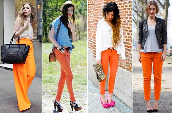340303 laranja Calça Colorida: Tendência para o verão 2012
