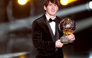 Messi, Xavi e Cristiano Ronaldo na final do prêmio Bola de Ouro da Fifa
