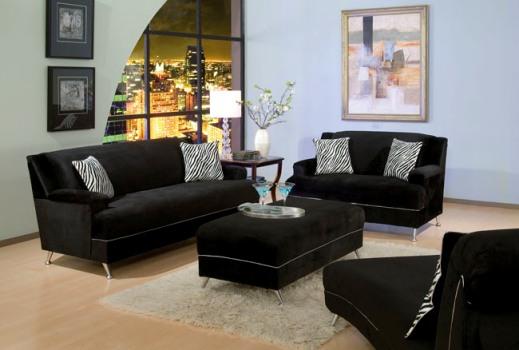 Sala De Estar Com Um Sofa ~ Sofás pretos decoram a sala de estar