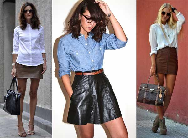 355534 camisa Saia de couro para o verão: Looks e Dicas