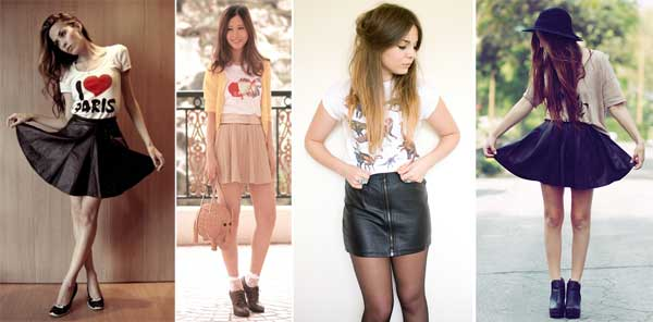 355534 camiseta Saia de couro para o verão: Looks e Dicas