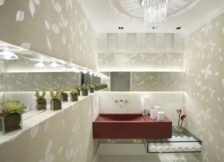 367954 lavabos com papel de parede 2 Lavabos com papel de parede