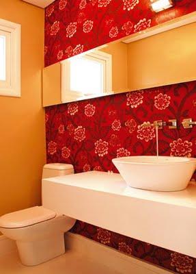 367954 lavabos com papel de parede Lavabos com papel de parede