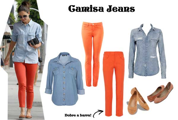 372463 camisa jeans look Calça Colorida: Dicas Looks