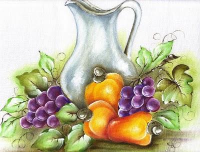 395398 jarro cajus e uvas pintura em tecido Tecidos para pintar, onde comprar mais barato