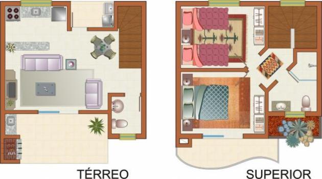 403025 Planta de sobrados com varanda e churrasqueira Planta de sobrados com varanda e churrasqueira