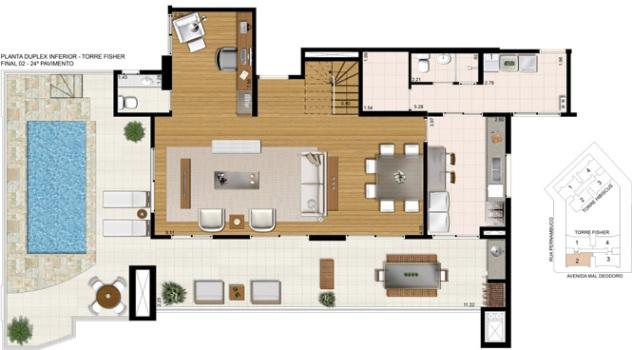 Imagen en planta de una casa con piscina imagui for Plantas de casas modernas con piscina