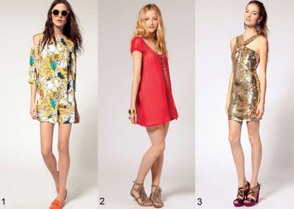 407411 Florais vermelhos e dourados são tendências Vestidos para baladas: modelos, fotos