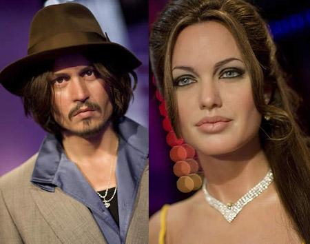 424192 Angelina JolieJohnny Depp Famosos que viraram bonecos de cera