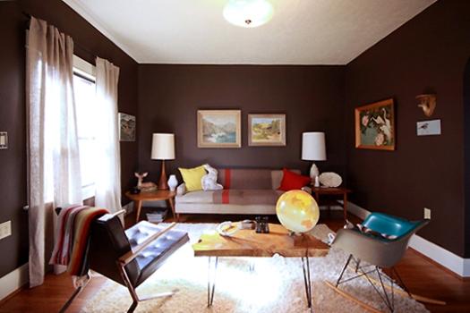 471515 Decoração de sala com parede marrom dicas fotos Decoração de sala com parede marrom: dicas, fotos