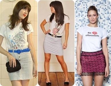 474846 A saias com t shirts caem muito bem e deixam o visual mais xique T shirts: como usar, dicas, fotos