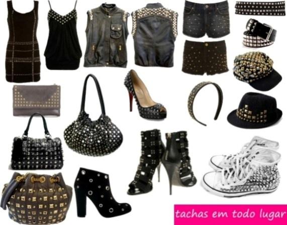 496201 As tachas podem ser encontradas em quase tudo no mundo da moda. Roupas e sapatos com tachinhas   como usar