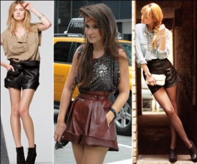 496703 As blusas de paetê combinam muito bem com os shorts de couro principalmente para ocasiões mais sofisticadas Shorts de couro, dicas para usar: fotos