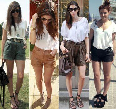 496703 As camisas e blusas brancas são combinações perfeitas para os shorts de couro Shorts de couro, dicas para usar: fotos