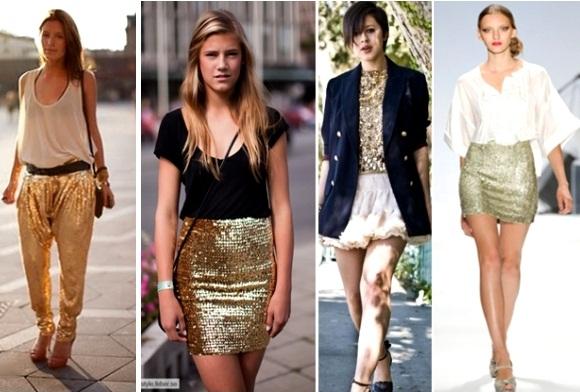 501491 O ideal é combinar as roupas douradas com outras peças de cores neutras Fotodivulgação. Roupas douradas: como usar