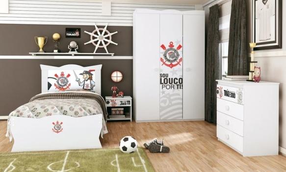 501584 Quartos com decoração de times de futebol Quartos com decoração de times de futebol
