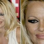 501712 O delineador exagerado ao regor dos olhos ainda não é pior que o contorno dos lábios de Pamena Anderson. 150x150 Famosas, erros na maquiagem