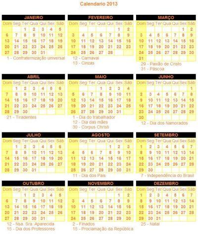 501810 calendario feriados 2013 1 Calendário: Feriados 2013