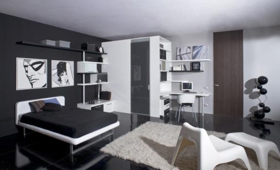 508147 Decoração de quarto preto e branco dicas fotos 24 Decoração de quarto preto e branco: dicas, fotos