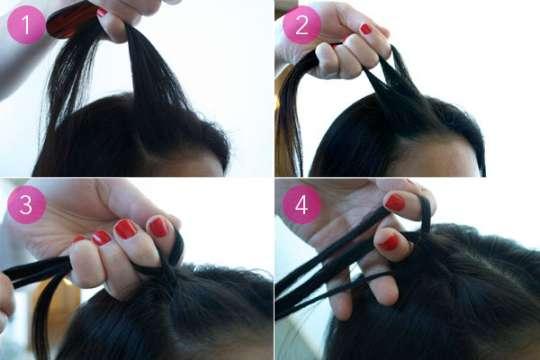 508764 Para fazer tranças americanas é preciso pegar mechas menores e trançar pegando partes do cabelo Fotodivulgação. Tranças americanas: como fazer, passo a passo