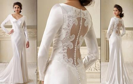 509185 As transparências nas costas aparecem em grande estilo nos vestidos de noiva Fotodivulgação. Vestidos de noiva com transparência: fotos