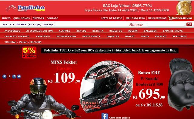 Lojas virtuais de acessórios para motos