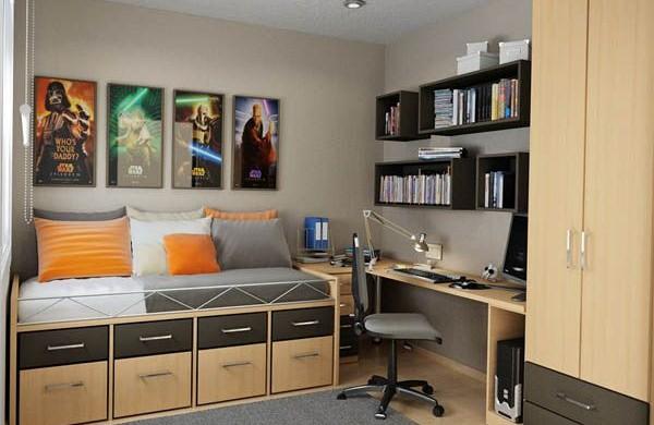 530850 As prateleiras e a escrivaninha devem fazer parte do ambiente adolescente. Foto divulgação Quartos masculinos para adolescentes   dicas, fotos