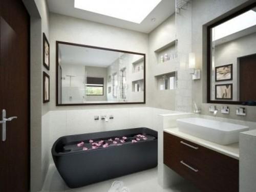 536957 banheiros decorados com faixas1 500x375 Banheiros em branco e preto: dicas, fotos