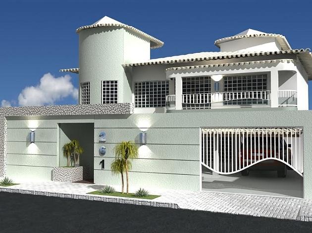 536993 casa muro 3B Fachadas de casas com garagem