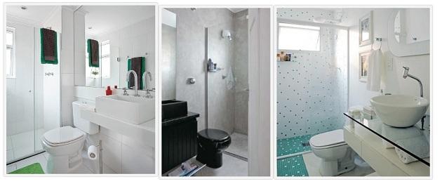 decorar banheiro muito pequeno: banheiros pequenos, prefira pisos em grandes formatos e dê