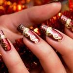 556935 Unhas bem trabalhadas em dourado e vermelho. 150x150 Unhas decoradas com motivos natalinos: fotos