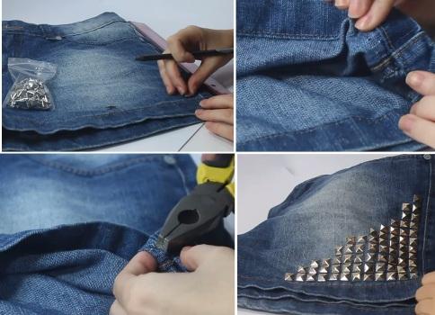 570669 Shorts customizados com tachinhas passo a passo Shorts customizados com tachinhas, passo a passo