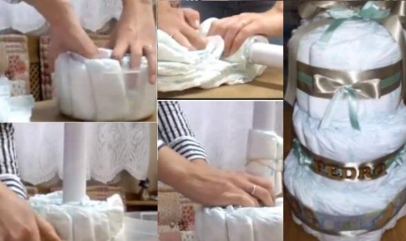 590242 Bolo de fraldas para chá de bebê como fazer Bolo de fraldas para chá de bebê: como fazer