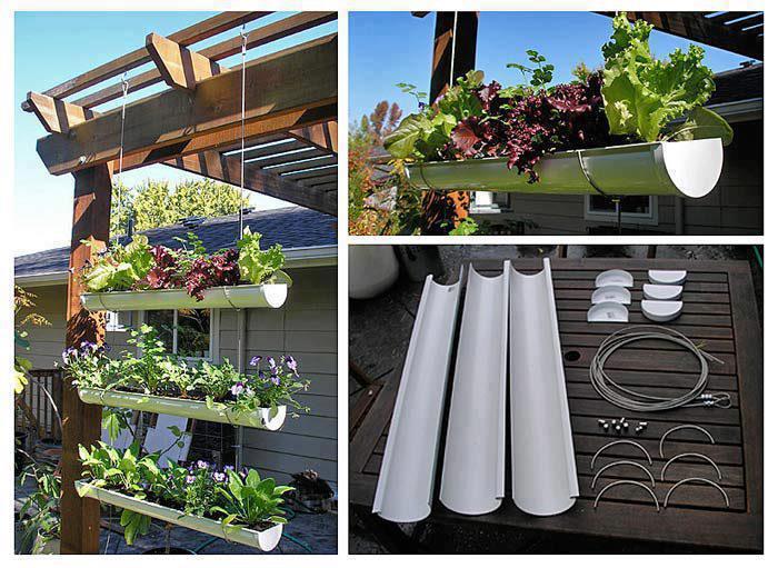 jardim vertical tubo pvc:Hanging Gutter Garden